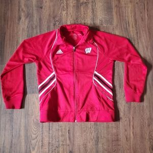 Youth Adidas Red Wisconsin Full Zip Track Jacket